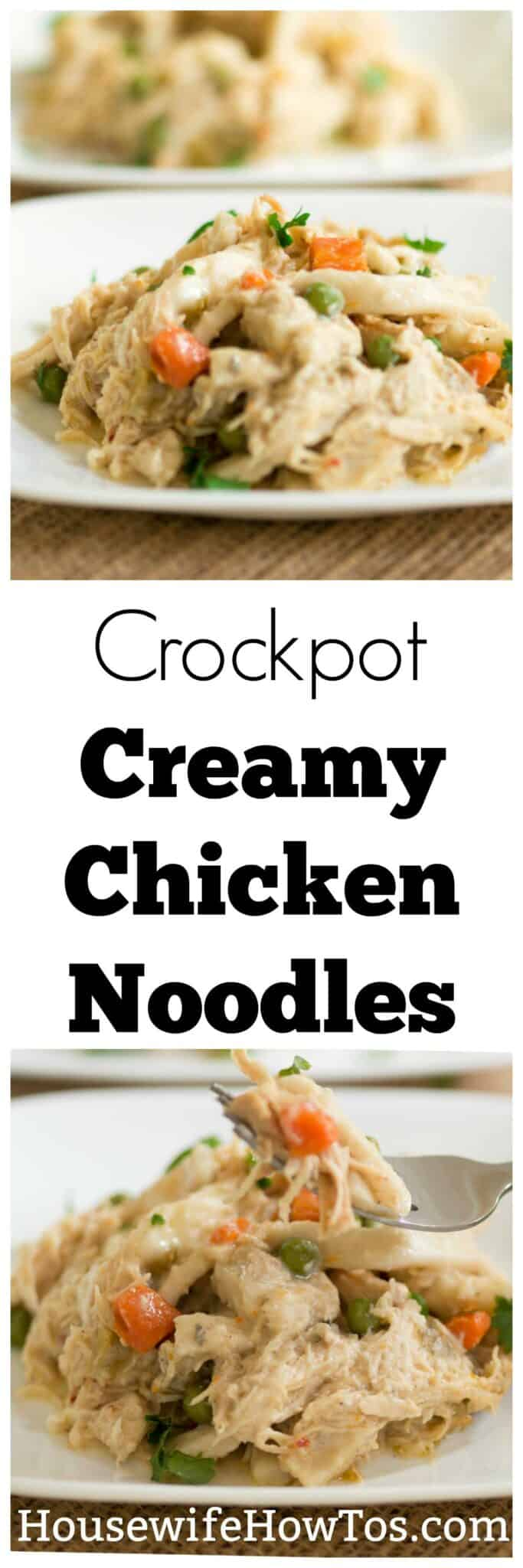 Crockpot Creamy Chicken Noodles Recipe | Seasoned chicken, vibrant vegetables, and tender noodles in an easy, creamy sauce. | #crockpotrecipe #comfortfood
