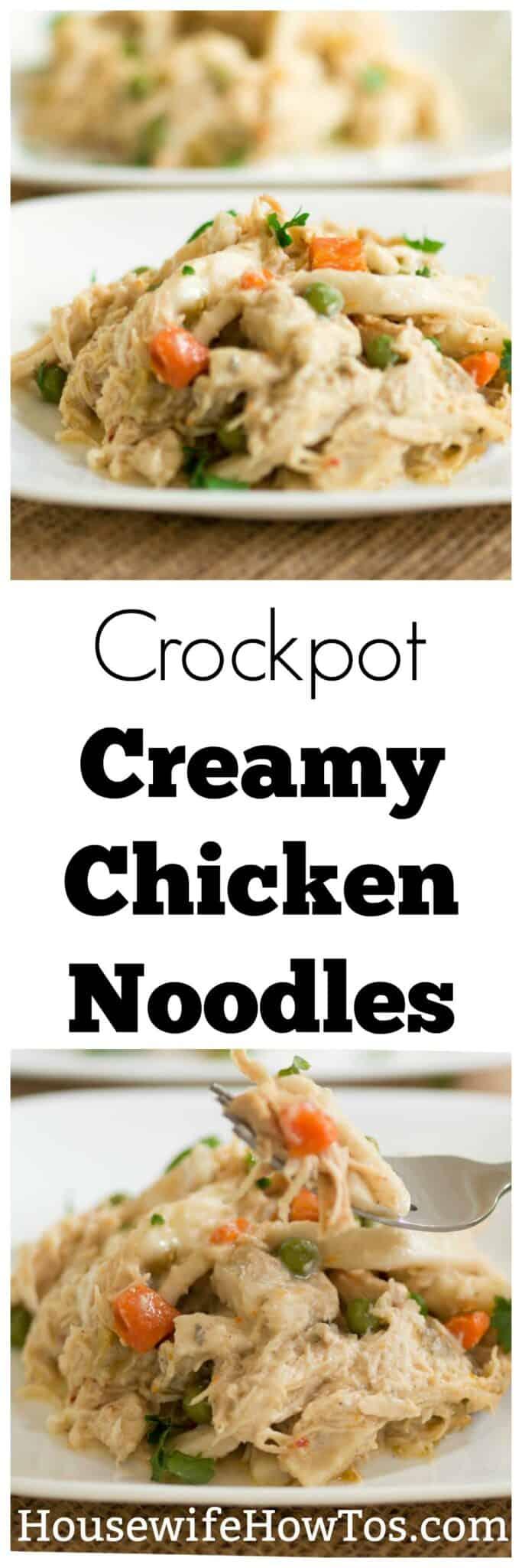Crockpot Creamy Chicken Noodles Recipe | Seasoned chicken, vibrant vegetables, and tender noodles in an easy, creamy sauce. | #crockpotrecipe #comfortfood #chickennoodles #chicken #noodles #slowcooker #easydinnerrecipe