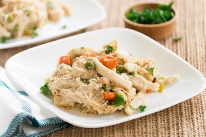 Crockpot Creamy Chicken Noodles - Savor the comfort