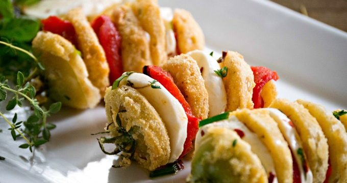 Hasselback Fried Green Tomatoes with Marinated Mozzarella