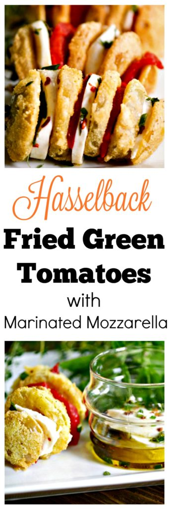 Hasselback Fried Green Tomatoes with Marinated Mozzarella #friedgreentomatorecipe #appetizers #sidedish