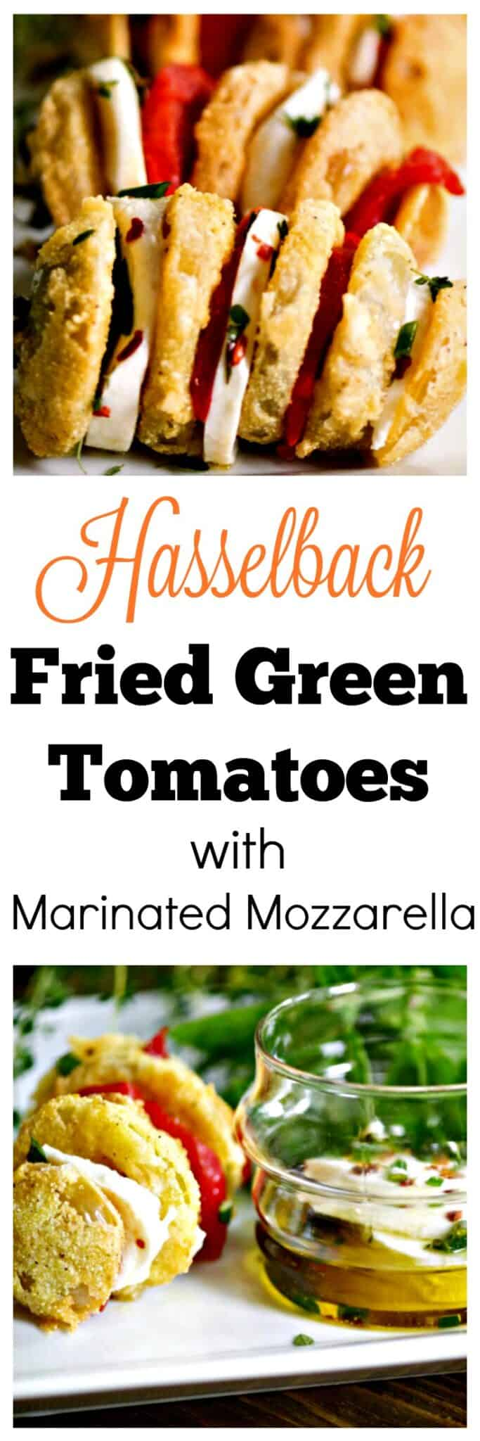 Hasselback Fried Green Tomatoes with Marinated Mozzarella Recipe #friedgreentomatorecipe #appetizers #sidedish