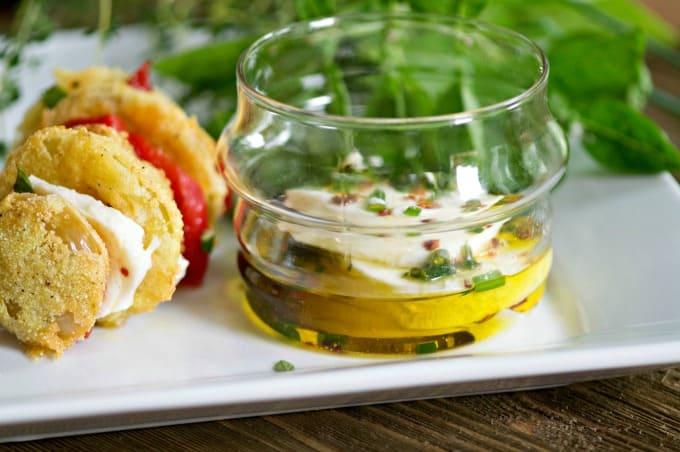 Marinated Mozzarella and Hasselback Fried Green Tomatoes