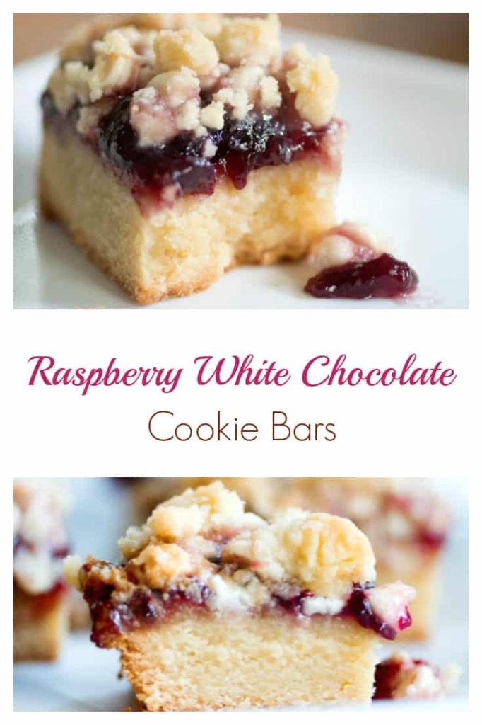 Raspberry White Chocolate Cookie Bars Recipe #cookies #cookiebar #baking #recipe #bakedgift #foodgift