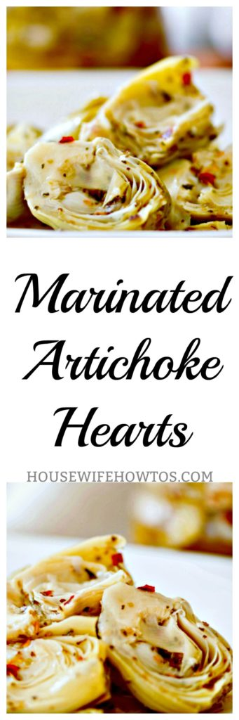 Marinated Artichoke Hearts - It is so easy to make your own #artichokes #artichokehearts #homemade #appetizer #condiment #vegetables