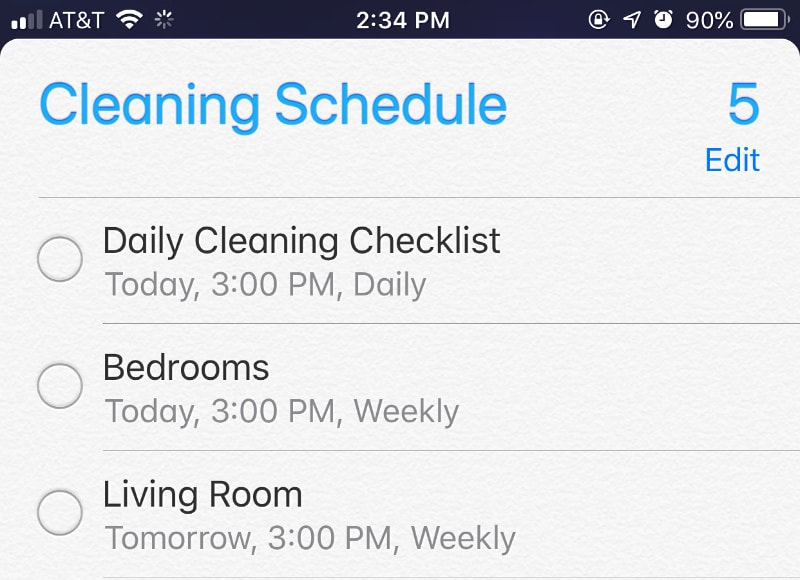 My cleaning schedule in the iPhone reminders app
