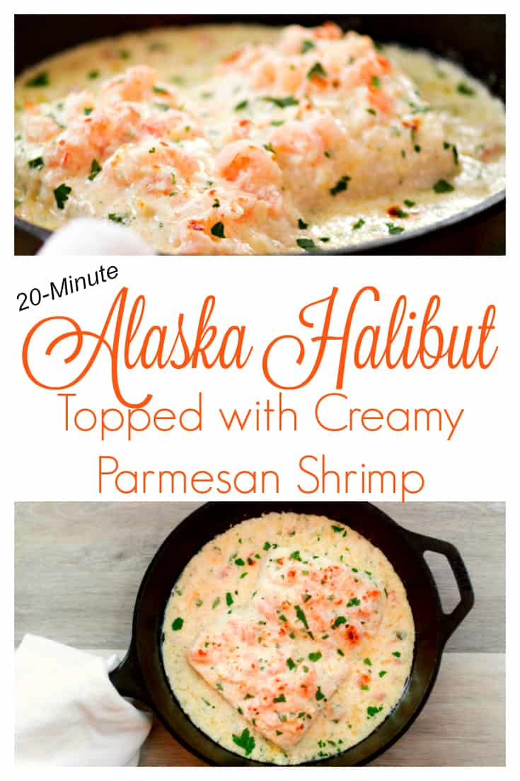 Alaska Halibut Topped with Creamy Parmesan Shrimp - A 20-minute dinner that will make your family love fish! #fish #fishdinner #seafood #halibut #easydinnerrecipe #20minutemeal #lent #dinner #meatless