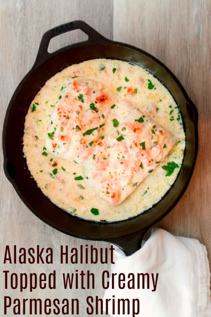 Alaska Halibut Topped with Creamy Parmesan Shrimp is easy enough for weeknights
