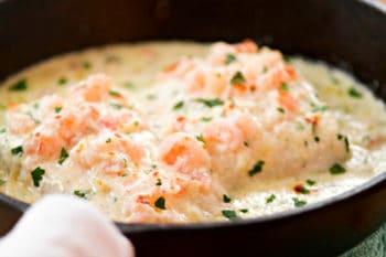 Alaska Halibut Topped with Creamy Parmesan Shrimp Recipe