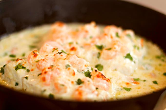 Recipe for Halibut topped with Creamy Parmesan Shrimp