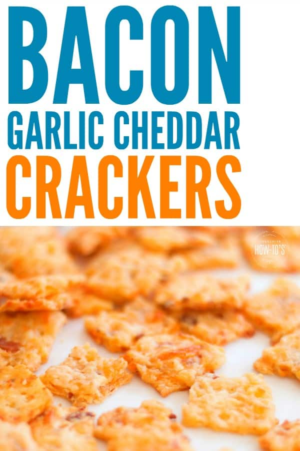 Bacon Garlic Cheddar Crackers scattered on white background