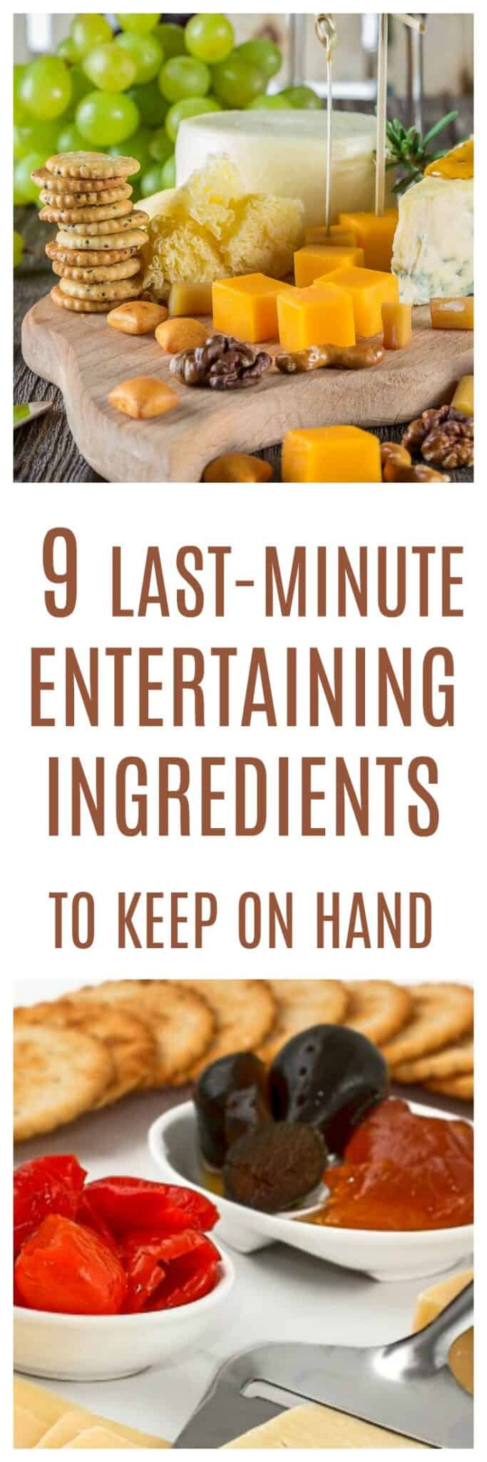 Last-Minute Entertaining Ingredients: 9 simple things to make dozens of appetizers with when guests drop by. #entertaining #appetizers #snacks #fingerfood