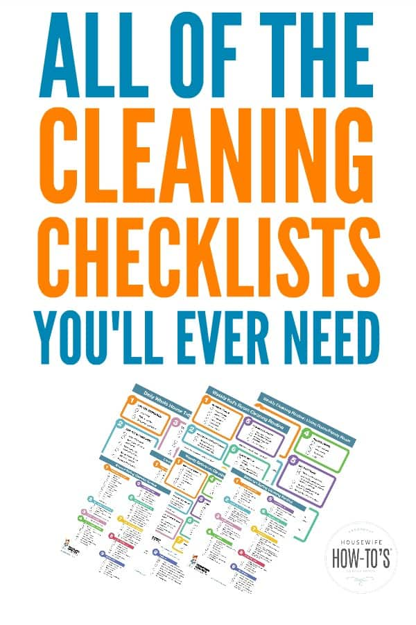 Cleaning Checklists - Printable cleaning checklists to get every room of your home clean. #cleaningchecklists #cleaningroutine #cleaning #deepcleaning #springcleaning #homemaking