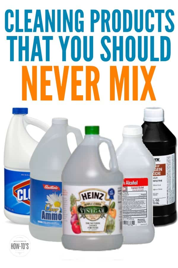 Cleaning Products You Should Never Combine - DIY Cleaning Mixes are great but there are some things you should never mix together. The results could be deadly! I even saw one Pin recommending one of these combinations and was horrified. #DIYcleaningmixes #diycleaningproduct #naturalcleaningsolutions #cleaningmixes #cleaning #toxic #bleach #ammonia #hydrogenperoxide #rubbingalcohol #surgicalspirits #toxicgas #housewifehowtos