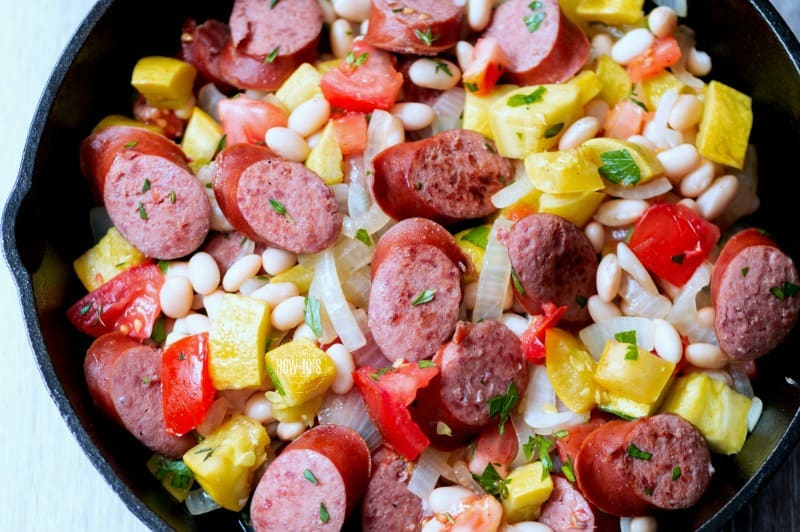 Summer Squash and Smoked Sausage Skillet in a black cast iron pan