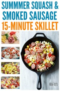 Summer Squash and Smoked Sausage Skillet - An easy one-pan dinner that is perfect for weeknights. #easydinnerrecipe #easydinner #weeknightdinner #onepanmeal #onepotmeal #skilletdinner #crooknecksquash #summersquash #smokedsausage #housewifehowtos