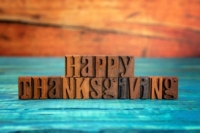 Block letters spelling out Happy Thanksgiving