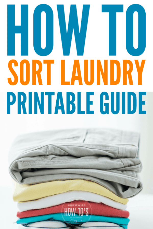 How to Sort Laundry - Printable Guide #laundry #cleaning #cleaningchecklist