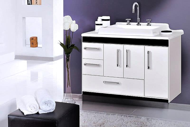 Get an Organized and Clean House - Guest bathroom - Modern white floating bathroom cabinet with chrome fixtures