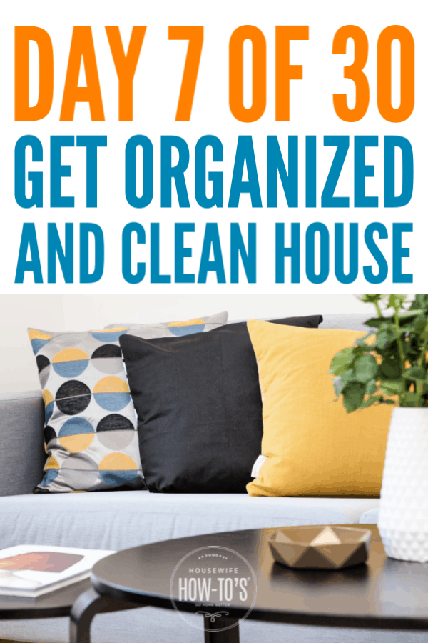 Get an Organized and Clean Home - Day 7 - The Living Room #getorganized #declutter #cluttercontrol #homeorganization  #cleaning