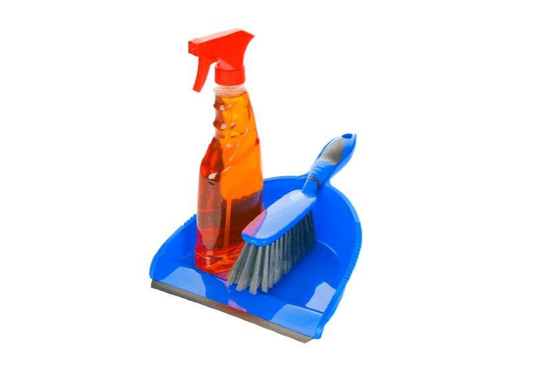 Spray bottle of cleaning solution with hand brush and dust pan