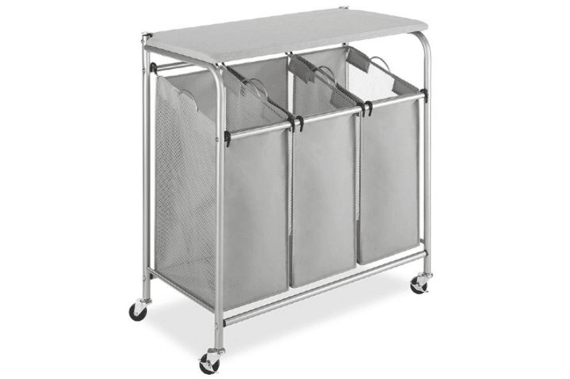 Organizing the Laundry Room - A rolling hamper with a counter can create extra space to sort clothes