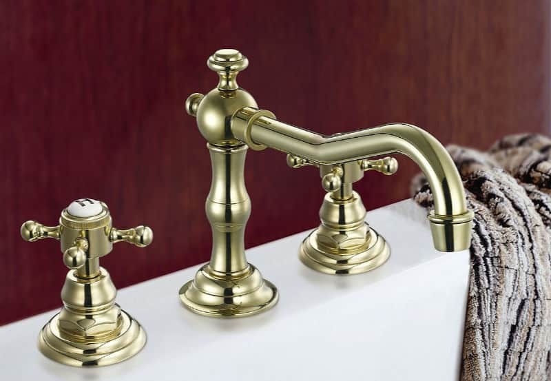 Get and Organized and Clean House - Day 8: The Guest Bathroom - brass faucet and white sink