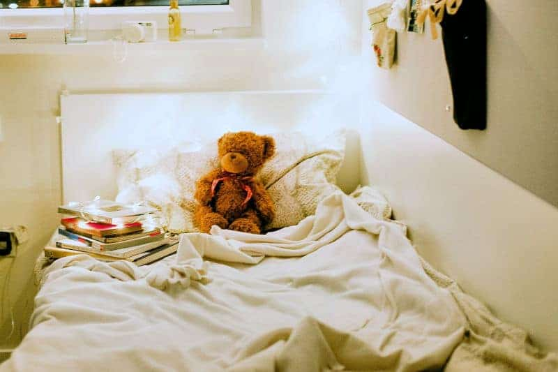 Help Kids Organize Their Rooms - Rumpled bed with teddy bear