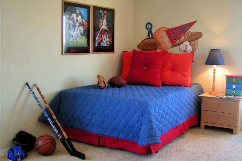 Help Kids Organize Their Rooms - Boys room with bed skirt hiding storage