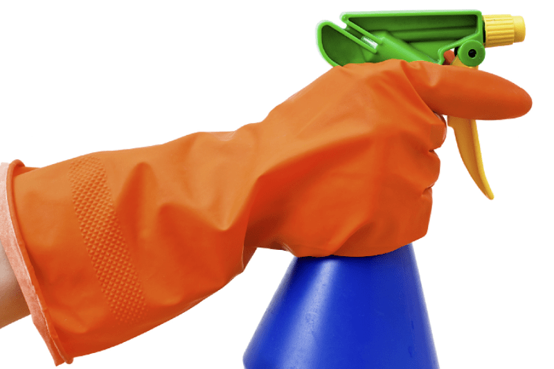 Hand in rubber glove holding mold removal spray in a bottle