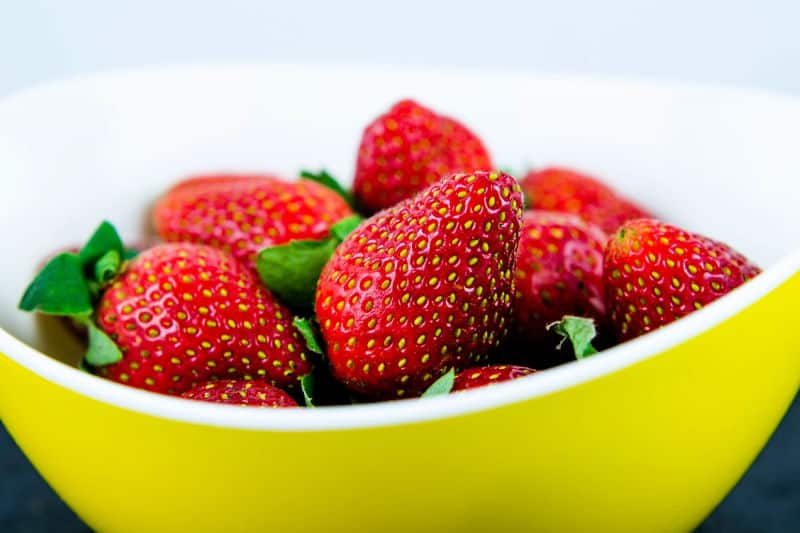 Strawberries in an uncovered bowl