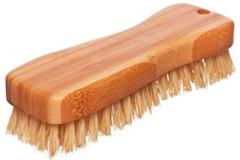 Scrub brush with wood handle