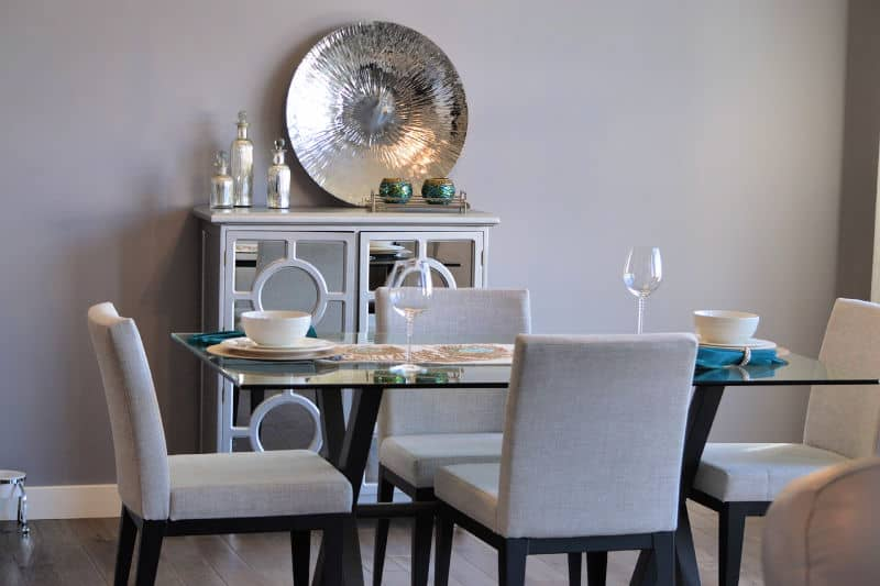 Modern dining table with storage cabinet