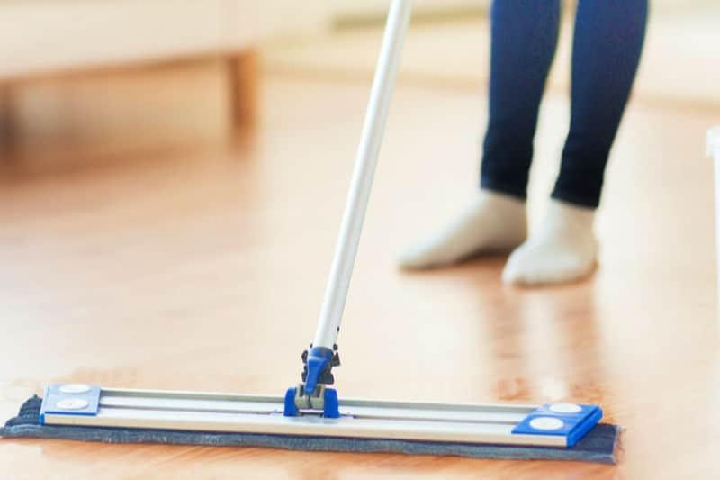Mopping hard wood floor