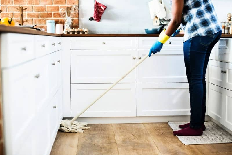 The Best Homemade Floor Cleaner Person Mopping Wood