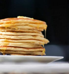 Stack of pancakes made with homemade pancake mix