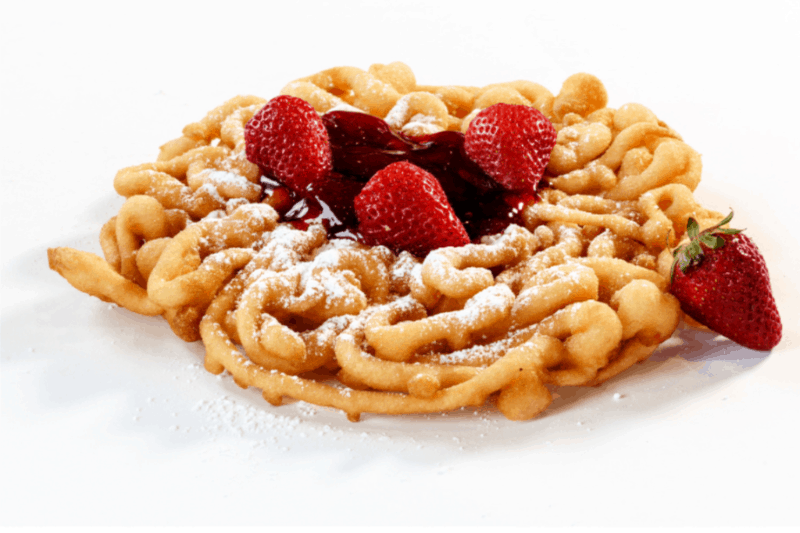 Funnel cake made using homemade pancake mix