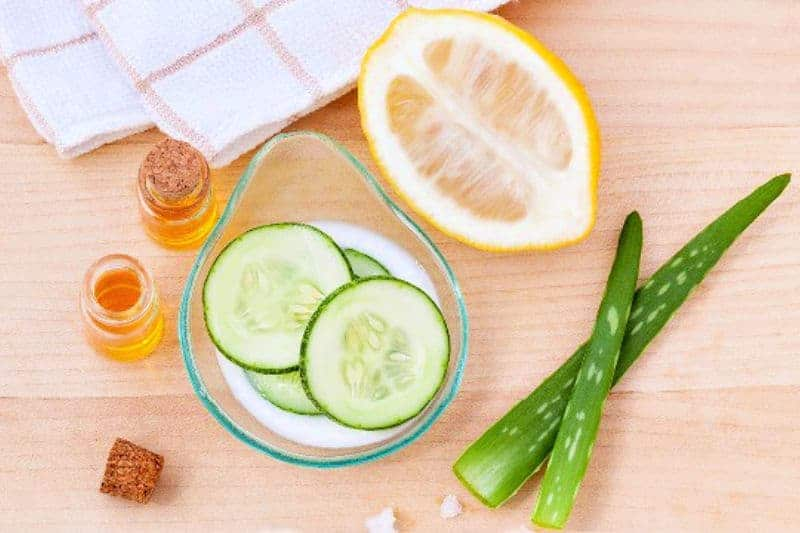 Beauty treatments in your refrigerator  - lemons and cucumber