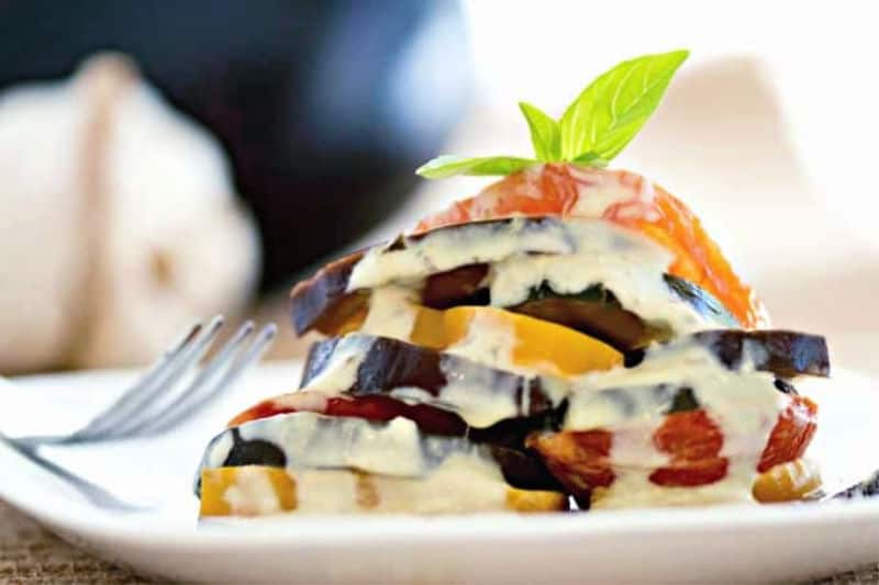 Ratatouille drizzled with fresh basil cream sauce