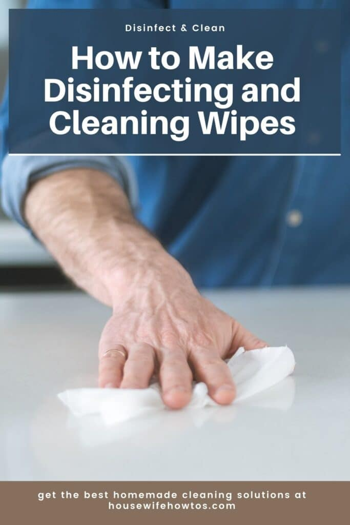 Male hand uses a homemade disinfecting wipe to clean a kitchen counter
