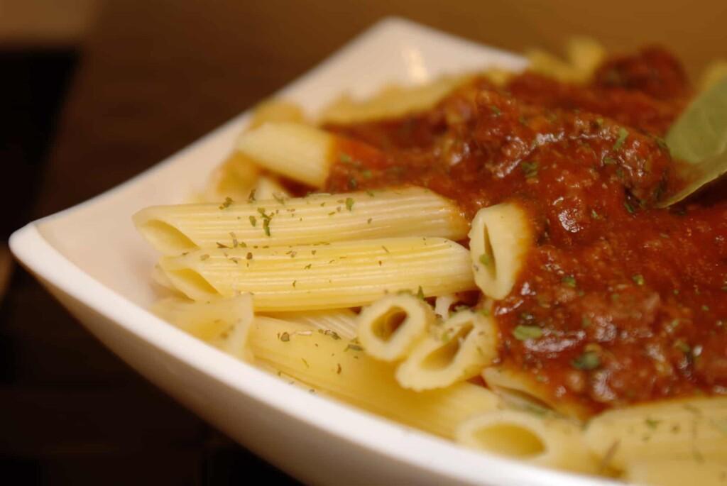 Easy marinara sauce over pasta