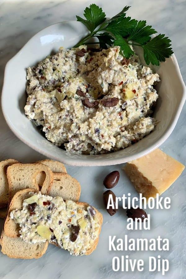 Artichoke and Kalamata Olive Dip spread on Melba toast