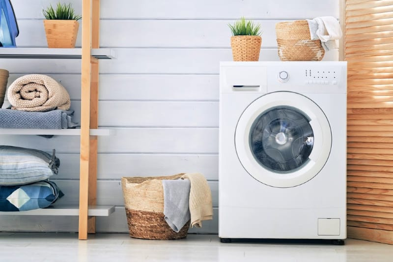 Front-load washing machine in a clean laundry room