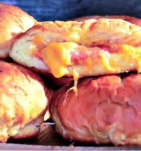 Pizza-Stuffed Pretzel Buns