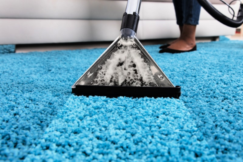 Woman steam cleaning turquoise shag carpet with machine