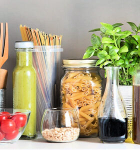 Kitchen pantry with Italian food products