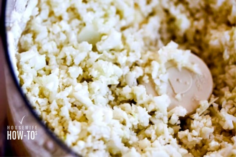 Ricing Cauliflower in bowl of food processor
