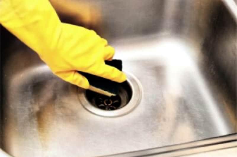 Closeup of hand in rubber glove scrubbing sink