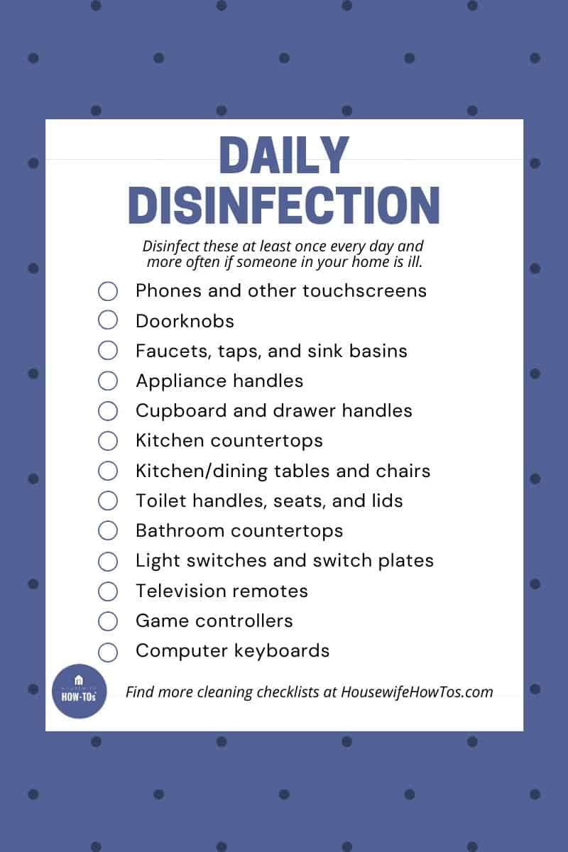 Checklist of what you should disinfect daily to keep your home healthy