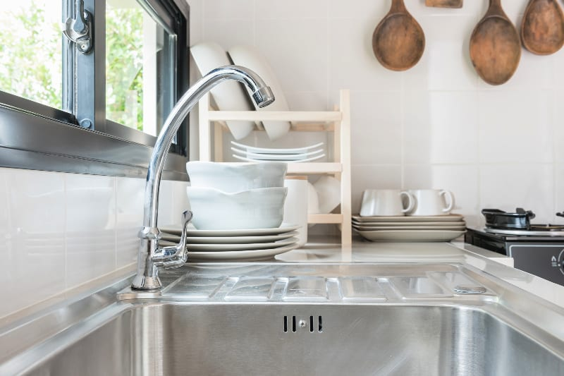 Clean and disinfected stainless steel kitchen sink